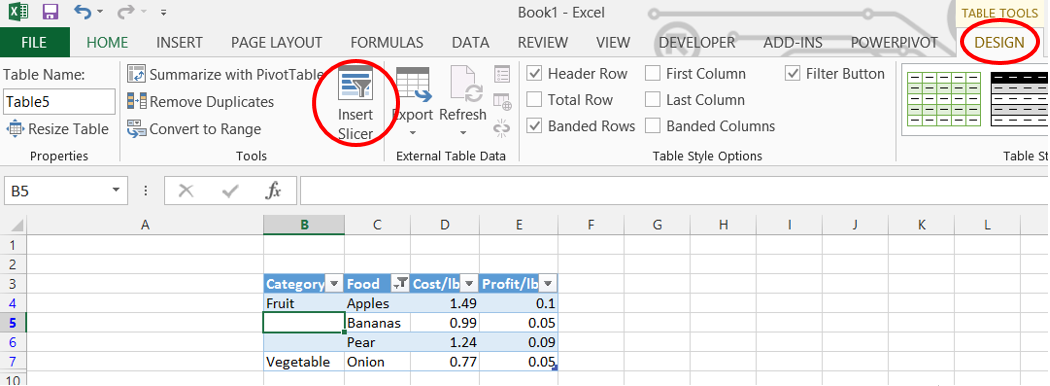 How to use the Slicer in the Excel ribbon.
