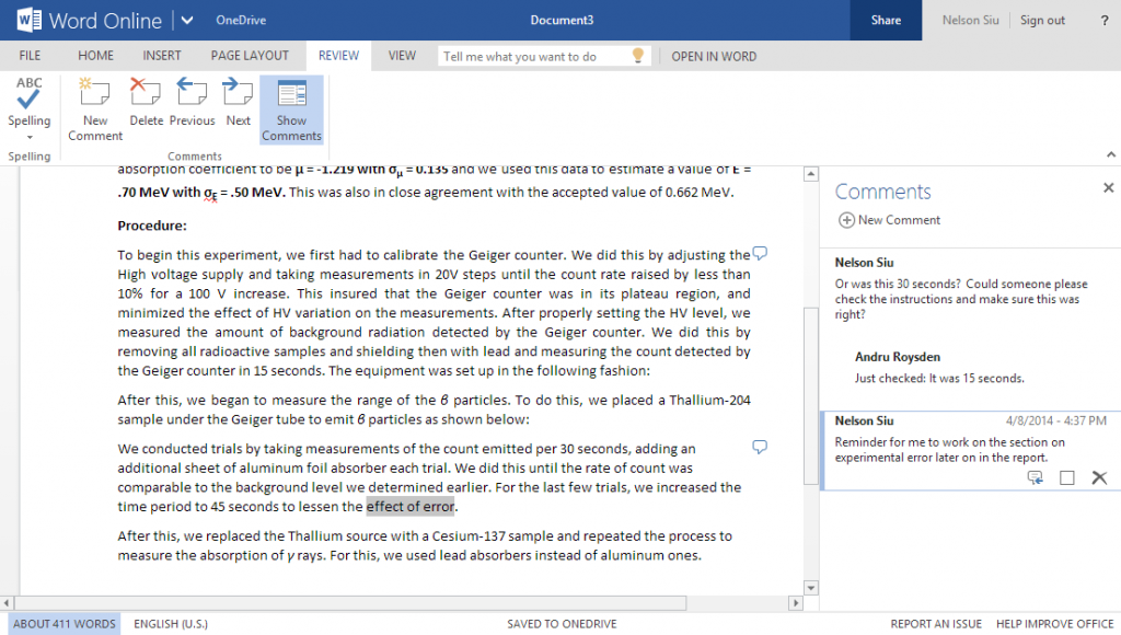 Now you can make comments in documents in Word Online.