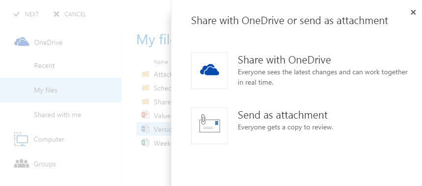 share files with Outlook Web App 3