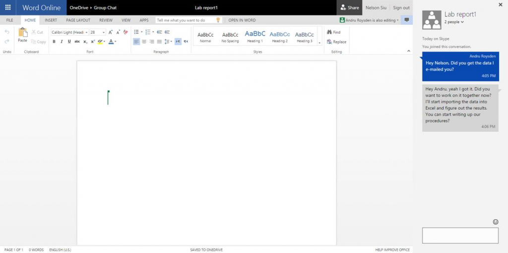 Introducing Skype document chat in Office Online 2