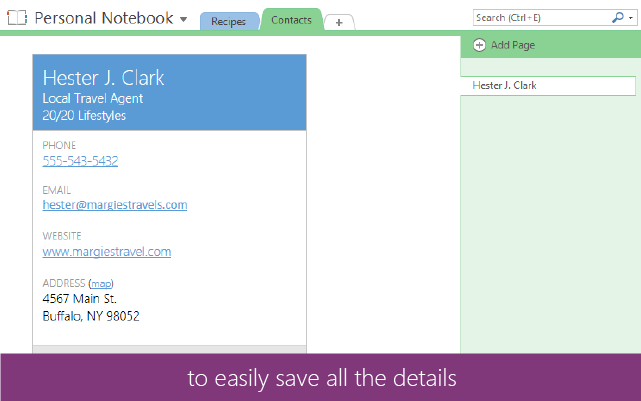 OneNote business card 2