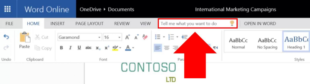 Arrow pointing to the Tell Me text box. To navigate to it via keyboard, use Ctrl+F6 until you hear Home tab. Then tab until you hear Tell me what you want to do.