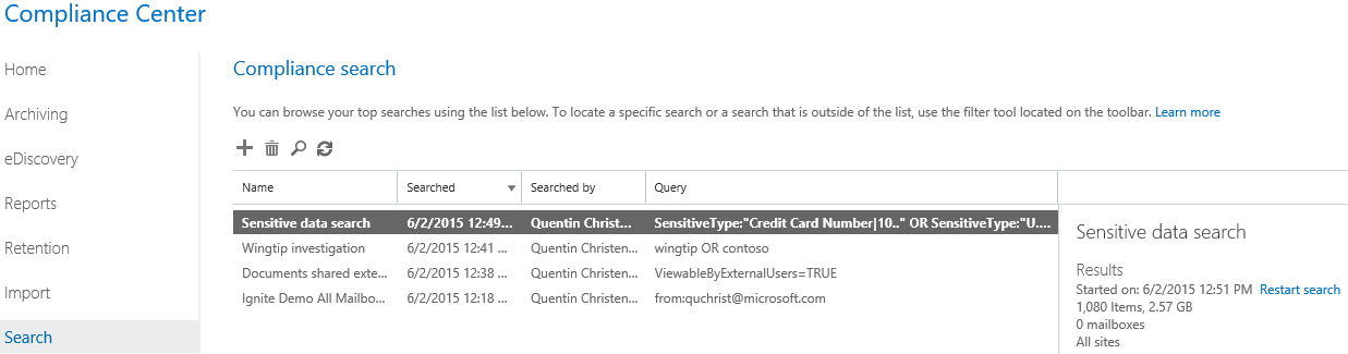Compliance search