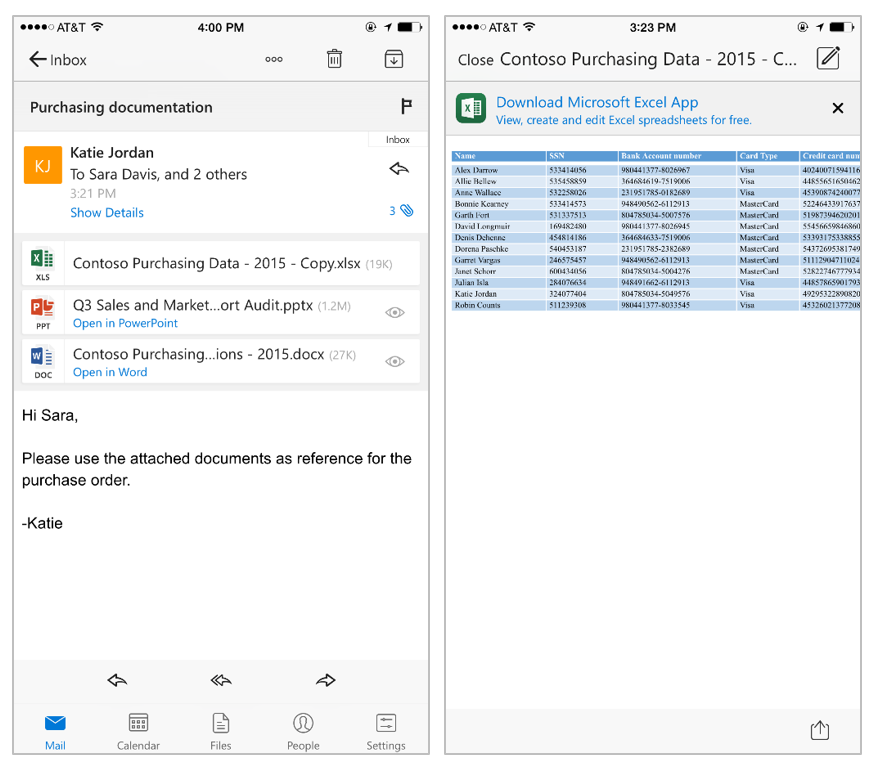 Deeper integration between Office documents and Outlook for iOS 1