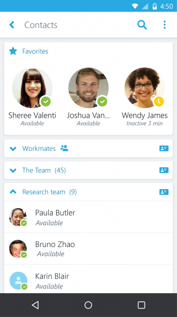 Skype for Business Android 2
