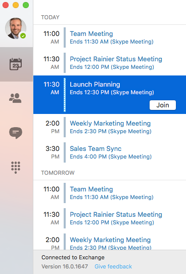Skype for Business Mac Preview 1
