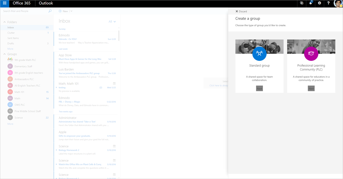 Professional Learning Community Groups in Office 365 Education 1
