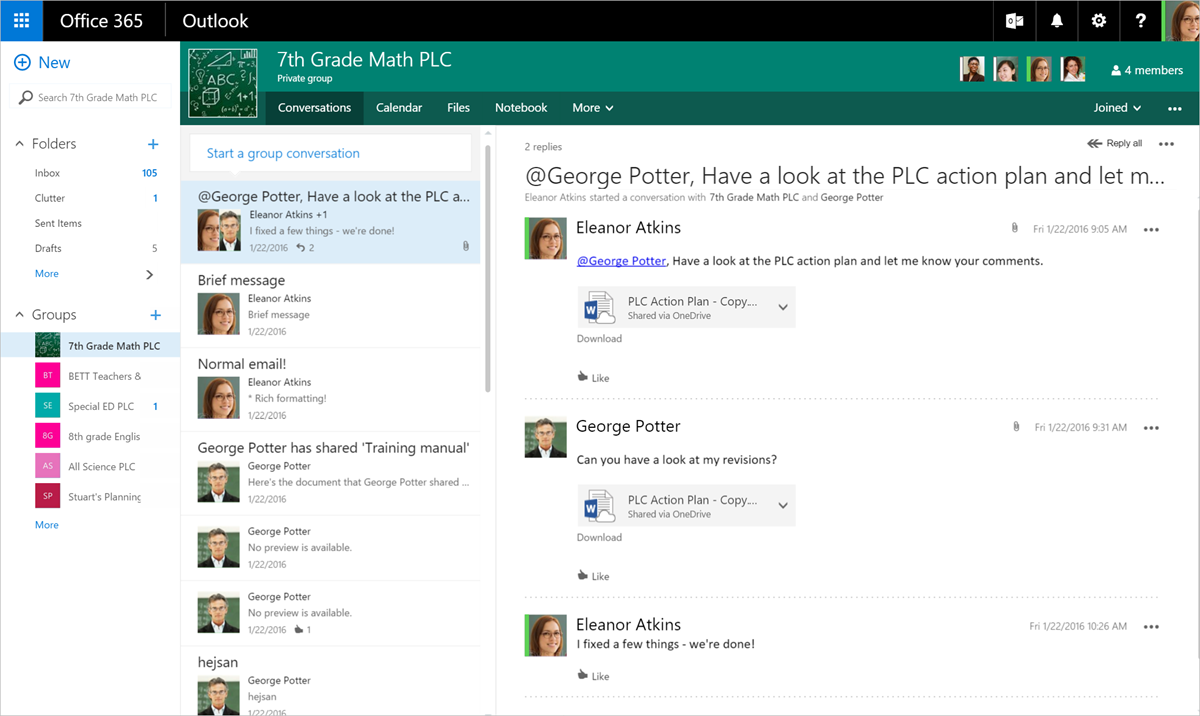 Professional Learning Community Groups in Office 365 Education 3
