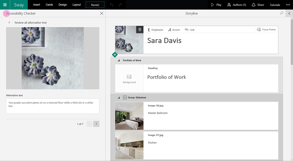 This is a screenshot of the Accessibility Checker opened up to the left of the Storyline area of the Sway app. A purple dot is placed on the Accessibility Checker pane for illustration purposes. The Checker features the heading Review all alternative text. It is showing a photo, followed by the Alternative text box with the description, two purple succulent plants sit on a textured floor while a third sits in a white box. The bottom of the photo is set to 1 of 7, with arrows to scroll through the rest of the 6 photos, for easy access to the alternative text for the rest of the images in the Sway.