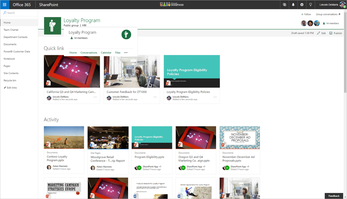 New capabilities in SharePoint Online team sites including integration with Office 365 Groups 4