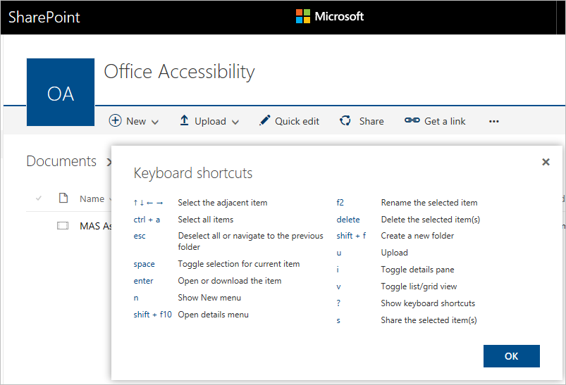 Screenshot of keyboard shortcuts in SharePoint Document Libraries
