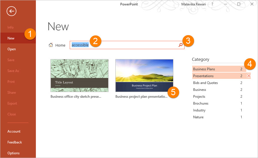 Screenshot of PowerPoint for PCs shows a new presentation being created from an online template by searching for the word accessible.