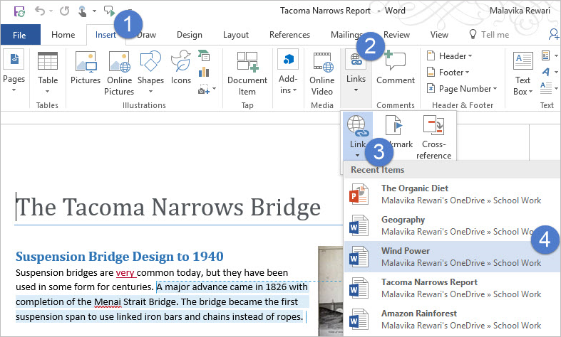 Screenshot of Word for PCs shows a new control called Link Gallery being introduced in the Insert tab to make it easy to insert accessible links to recent items.