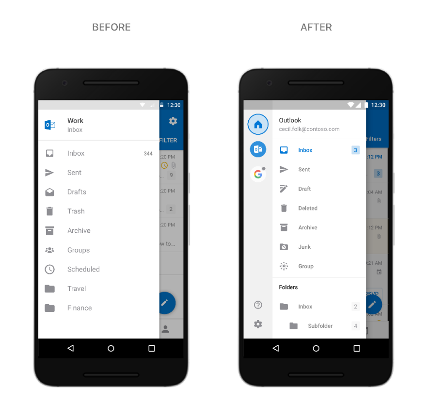 Side-by-side images of Android phones displaying Outlook for Android.
