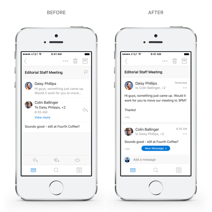 Image showing side-by-side mobile devices with the before and after conversation experience.