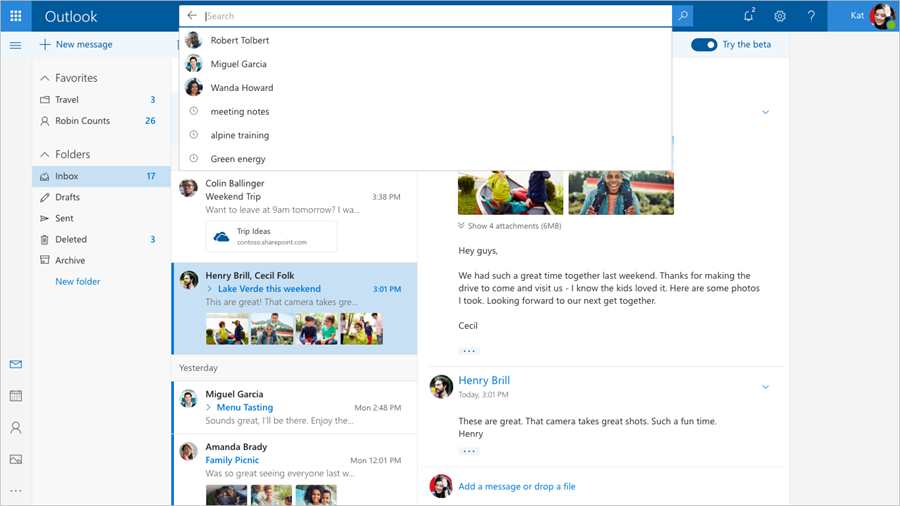 Image showing the Outlook beta inbox, with the search feature displaying suggested contacts.