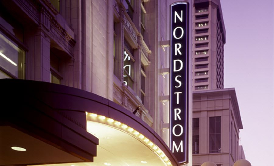 Nordstrom sign as seen from a street in downtown Seattle.