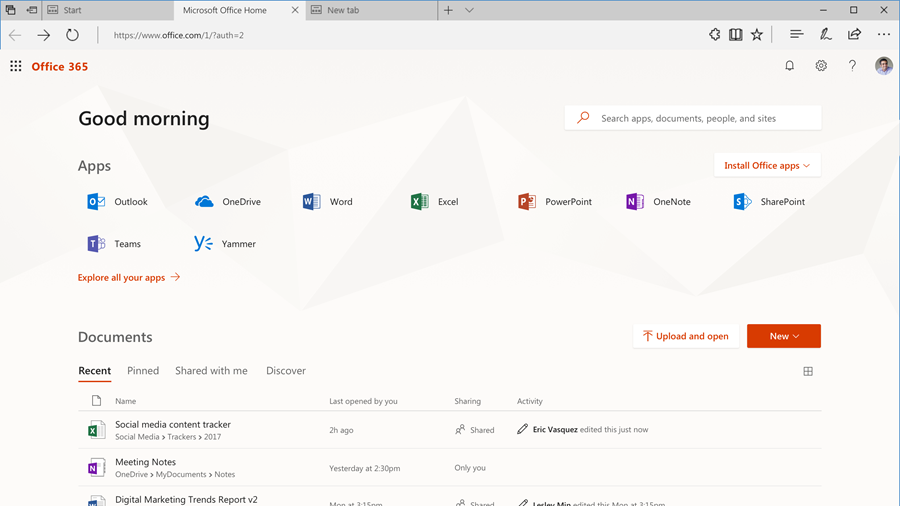 Screenshot of the home page of Office.com.