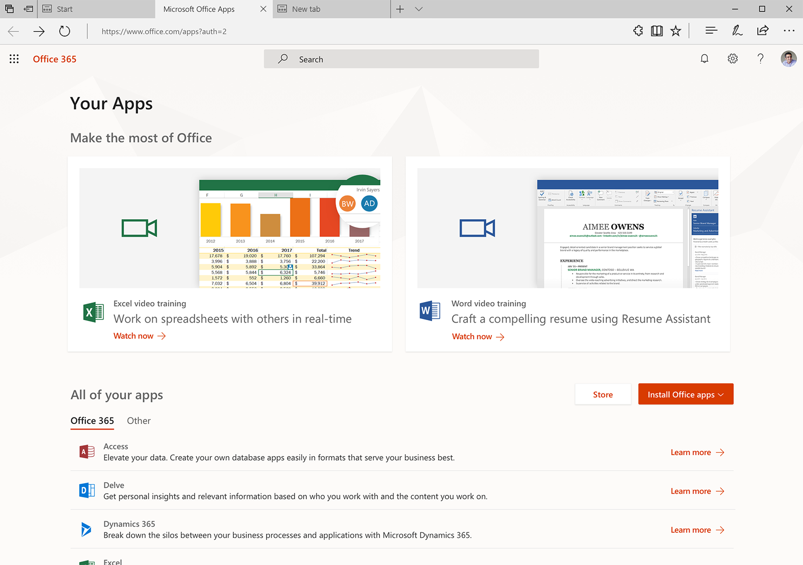 Image of the new Office 365 gallery, where you can explore apps.