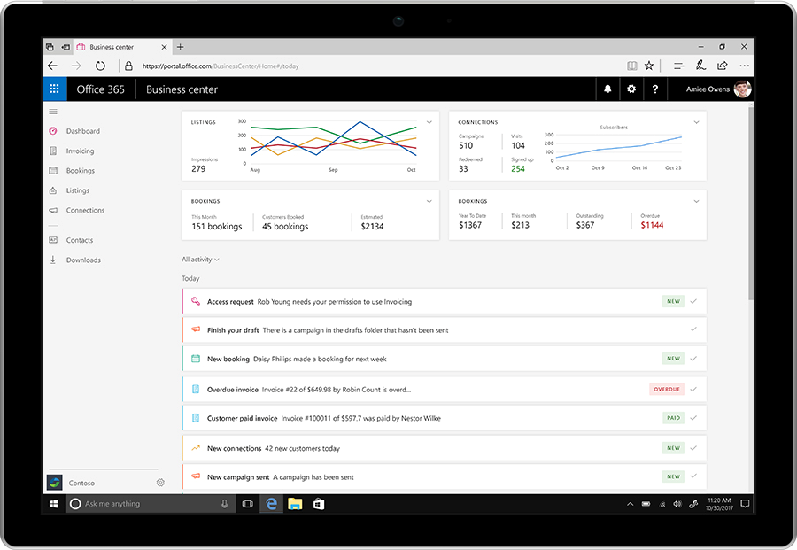 A smart device displays the Office 365 Business center.