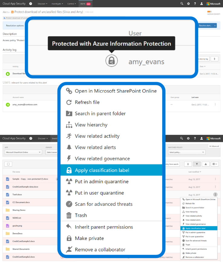"""Screenshot displaying the """"Apply classification label"""" selection from a dropdown menu in Azure Information Protection."""