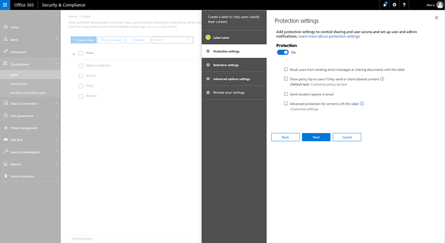 Screenshot displaying the Protection settings options in the Security & Compliance center.