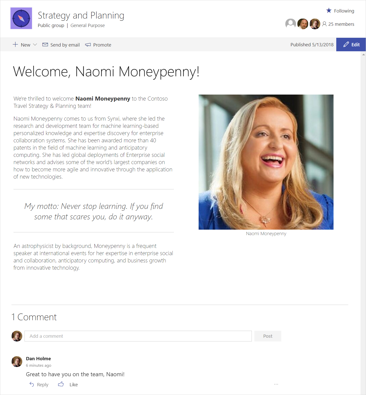 A screenshot shows SharePoint news, which uses pages and web parts with rich, dynamic content to keep people up-to-date.