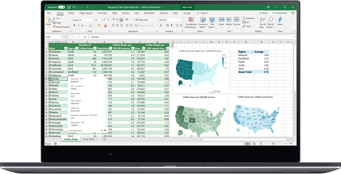Image shows the Geography data type in Excel.