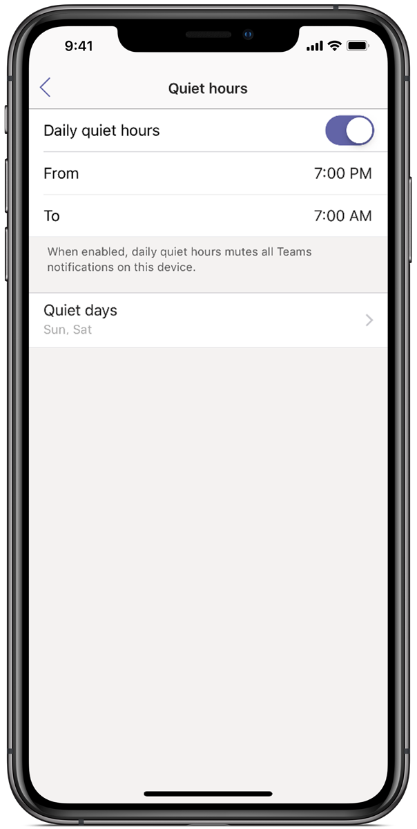 Image of a phone screen displaying Microsoft Teams, with quiet hours set from 7 p.m. to 7 a.m.
