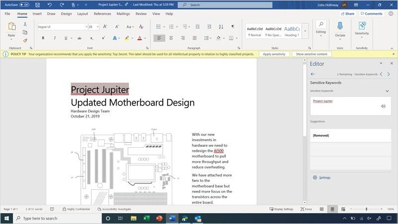 Word window showing with new trainable classifiers.