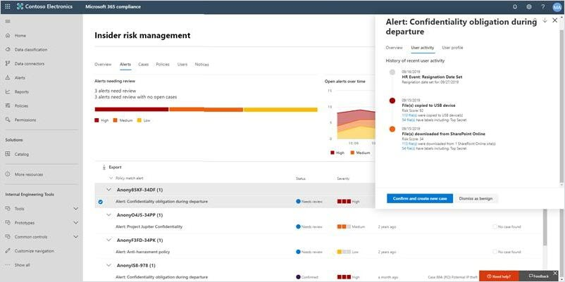 A view of the Insider Risk Management screen.