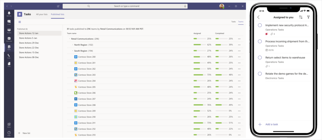 Image of tasks being assigned to teams in Microsoft Teams.