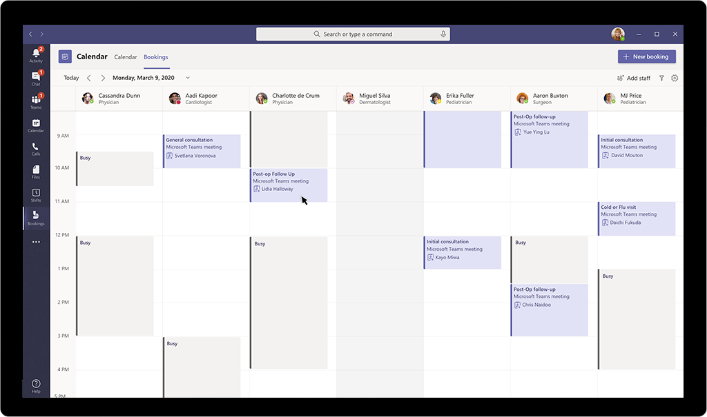 Create virtual appointments inside of Teams.