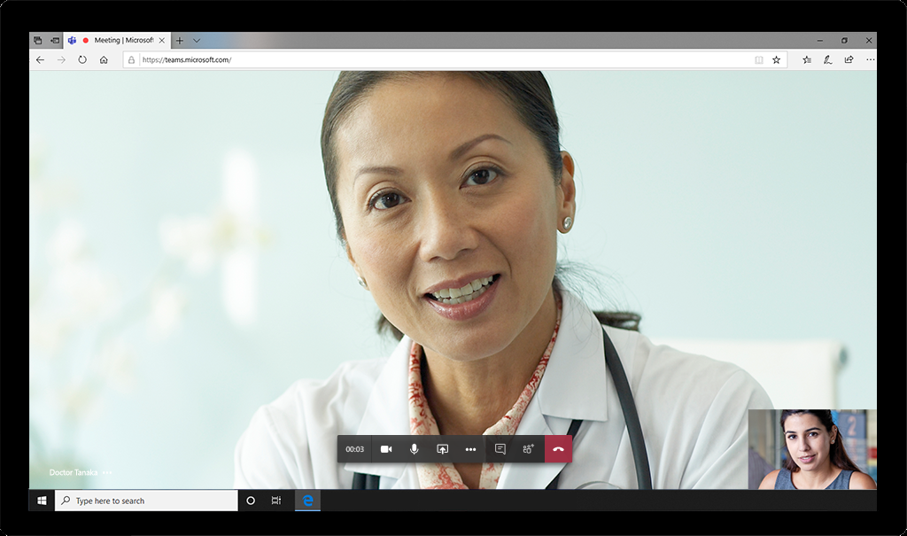 Patients can join the meeting in one click and do not need a Teams license