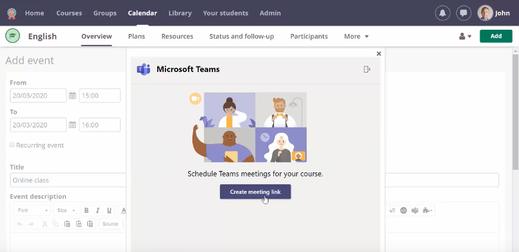 Image showing the option to create a Teams meeting link in itsLearning.