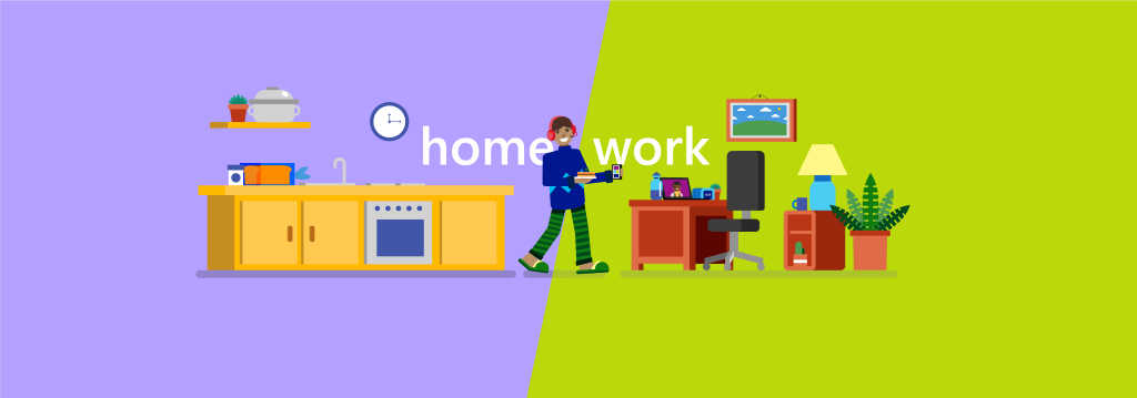 infographic of a worker walking from home to work
