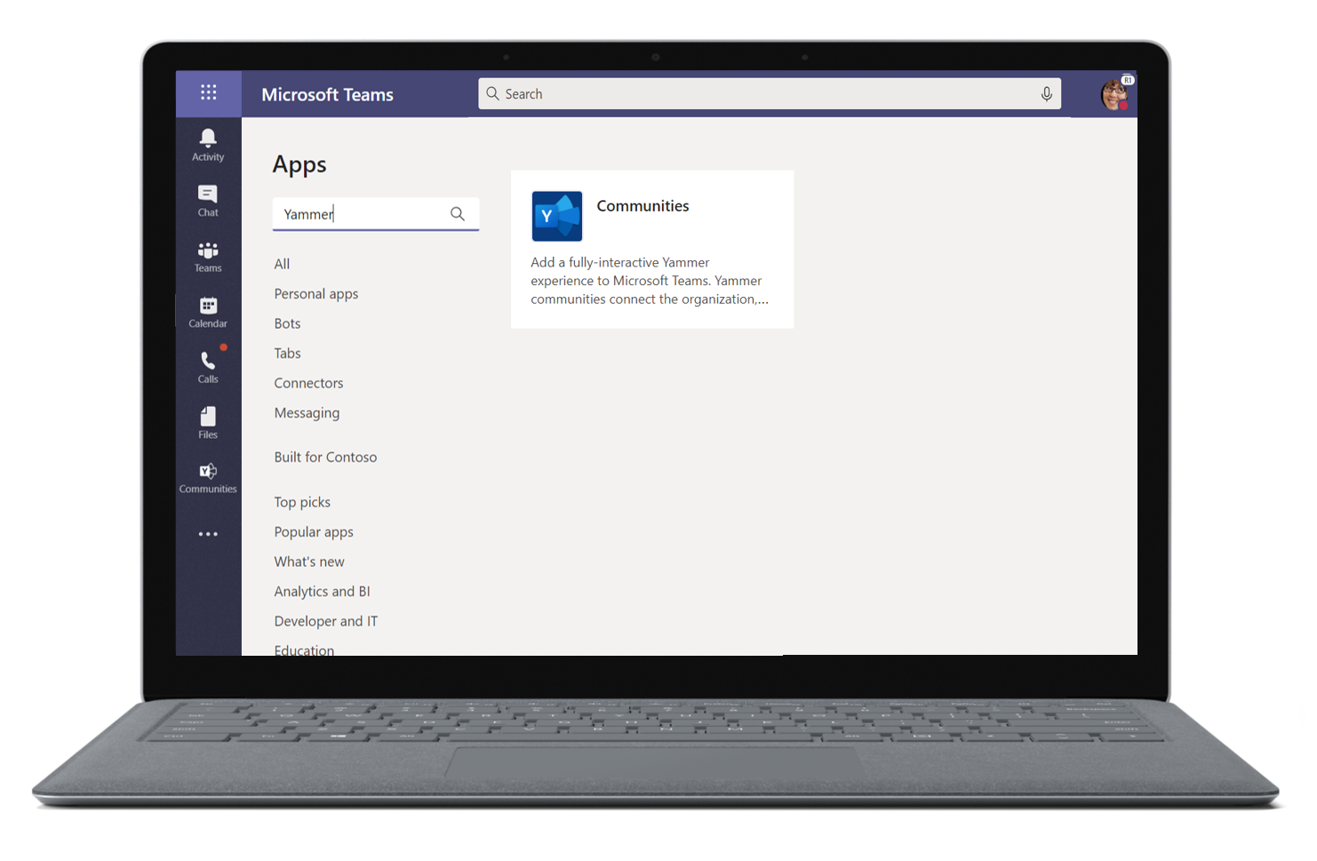 Image of the Yammer app being searched for in Microsoft Teams.