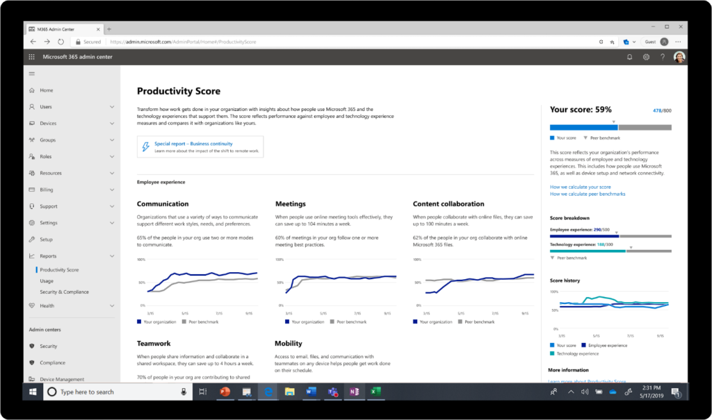 An animated image of the Leader Insights Productivity Score.