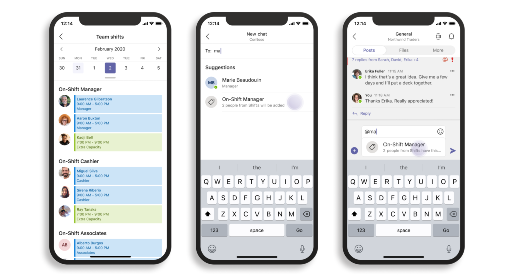 Screen shot of three phones showing two-way dialogue between manager and employee