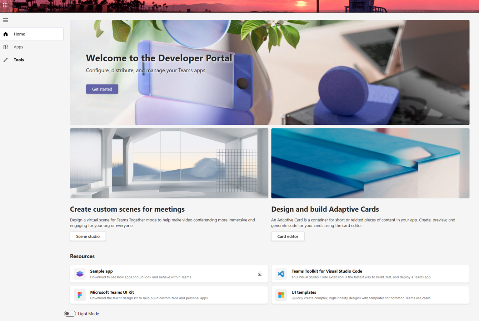 Visual showing the home page of the Developer Portal.