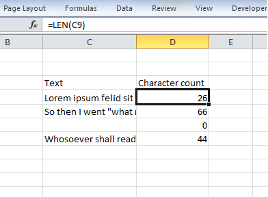 Counting characters using the LEN function