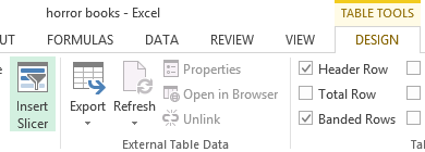 Design tab of the Table Tools ribbon
