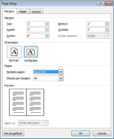 Booklet settings in the Page Setup dialog box