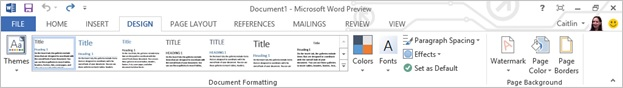 Screenshot of the new design tab in Word