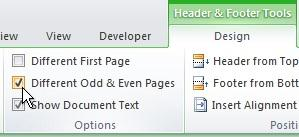 Booklet setting for the header or footer