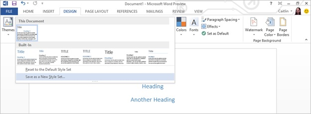 Screenshot of a new style added to a document