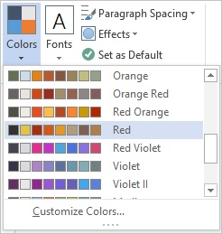 Screenshot of the Theme colors drop down on the Design tab