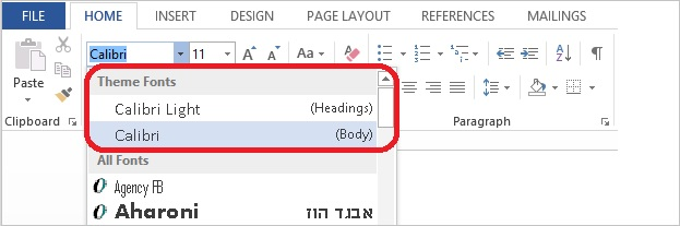 Screenshot of the font drop down on the home tab showing the theme fonts