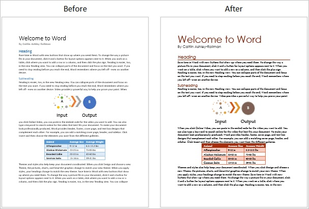 Screenshot of a doc before and after all style changes applied in this post