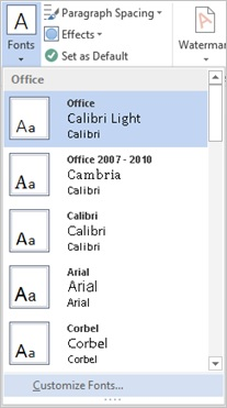 Screenshot of the theme fonts drop down on the design tab